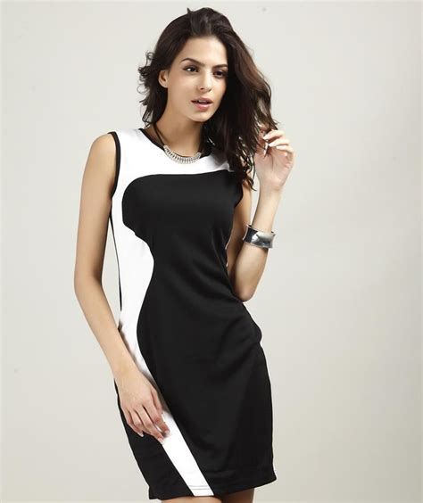 Black White List Dress summer tight dress black blue slim cultivate one s morality dress black white dress 2