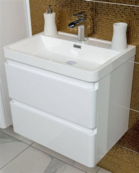 Wall Hung Vanities For Bathrooms Zenit 600mm White Gloss Wall Hung Bathroom Vanity Unit Inc Basin