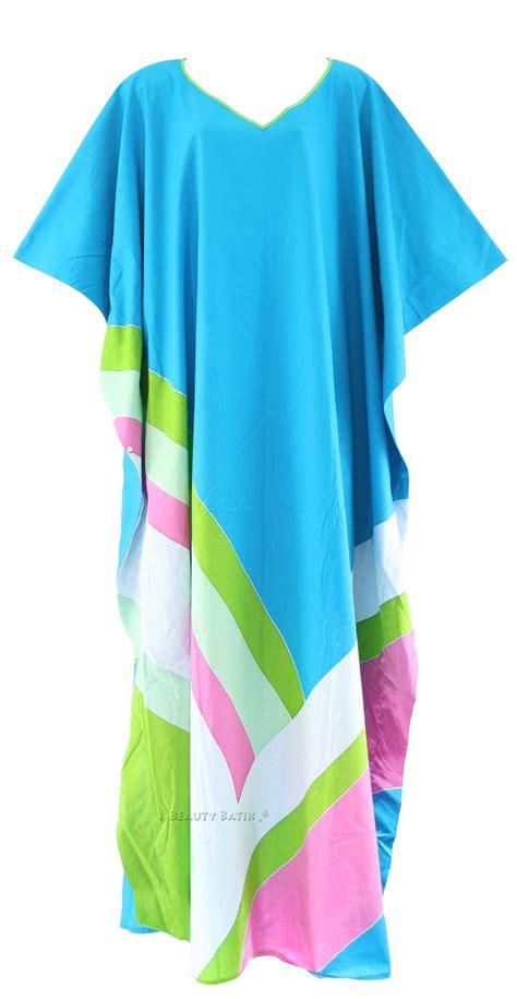 Dress Batik Blue Sz 1 3th Blue Batik Cotton Caftan Kaftan Loungewear Dress Plus Sz