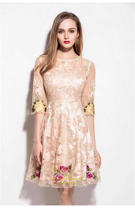 Embroidered Cocktail Dress chagne lace illusion neckline embroidered overlay