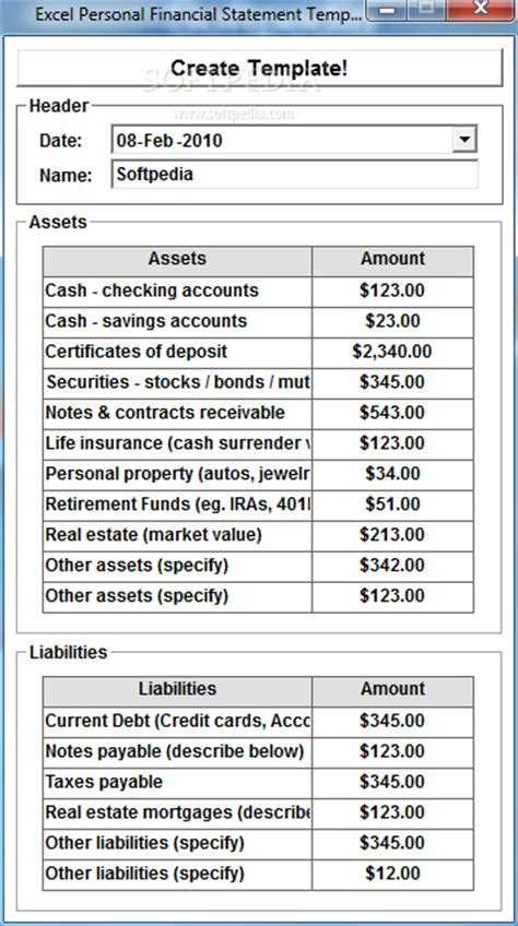 Soapopnaber Business Balance Sheet Template Microsoft Excel Personal Financial Statement Template