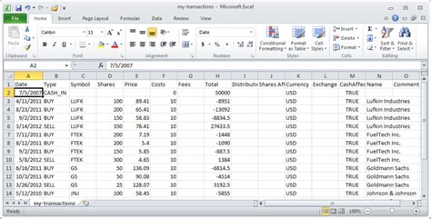 format csv import importing investment data from a csv file