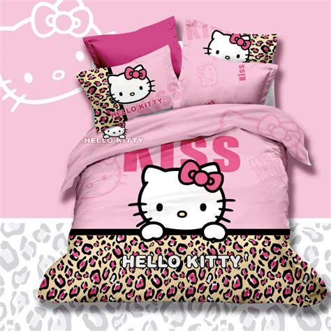 hello kitty queen size comforter pink leopard skin print hello kitty 4pc queen size 3d