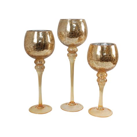 Harvest Home Decor by Set Of 3 Crackled Glass Candle Holders Gold