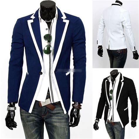 Slim Fit Blazer Dress mens casual dress slim fit stylish one button suit blazer