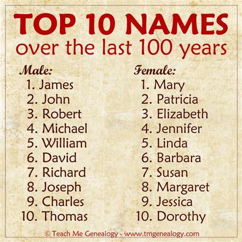 best name top names the last 100 years teach me genealogy