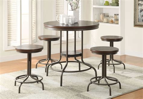 Cherry Oak Dining Table 5pc Cherry Oak Finish Counter Height Bronze Metal Dining Table Set