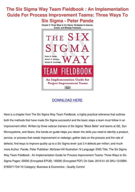 Buku The Six Sigma Way the six sigma way team fieldbook an implement by
