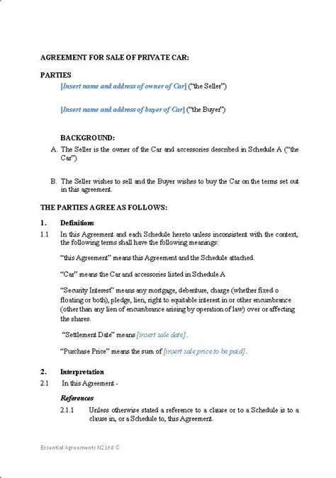 agreement of sale template for a vehicle personal sale contracts new zealand documents