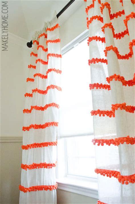 diy pom pom curtains diy embellished curtains an anthropologie swing stripe