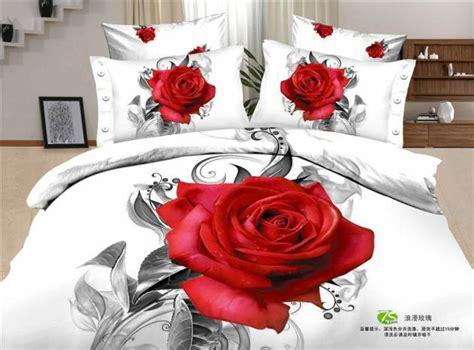 red rose comforter set 3d white red rose flower print floral romantic bedding