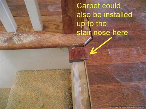 patterned carpet on stairs with wood bullnose   Now I have