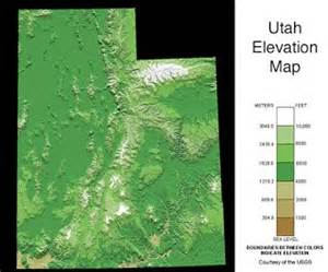 Utah Elevation Map by Geography Facts About Utah