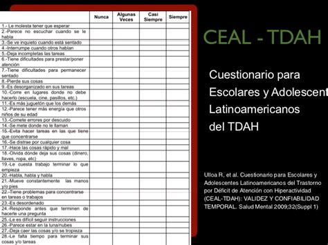cuestionario para escolares y adolescentes tdah deteccion temprana y tratamiento adhd treatment palacio