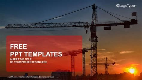 construction crane at sunset powerpoint templates