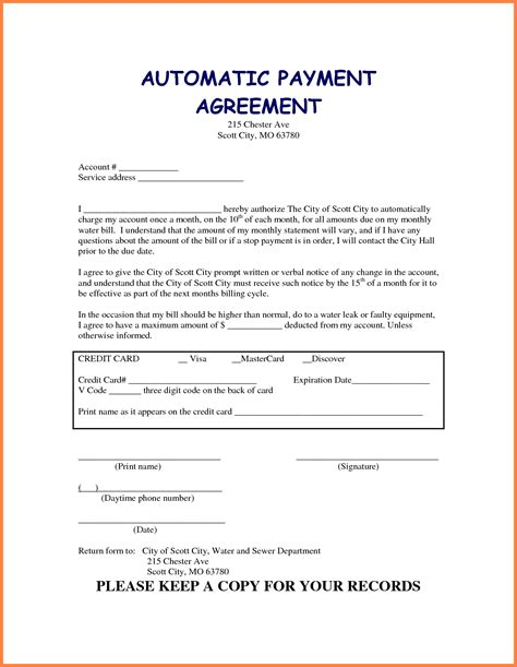 Sle Agreement Letter Regarding Payment 7 Take Car Payment Contract Template Securitas Paystub