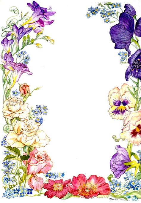 flowers card template border of paper flower card borders clipart best