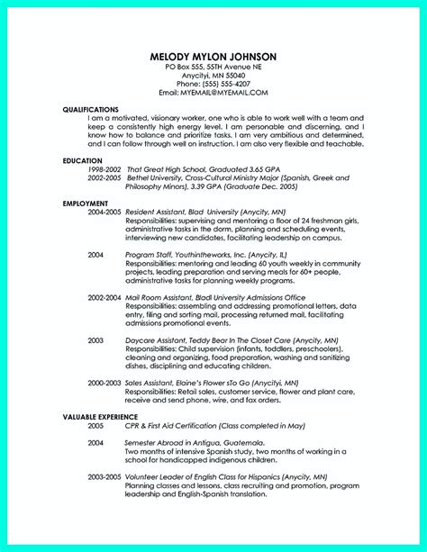 College Graduate Resume by Cool Sle Of College Graduate Resume With No Experience