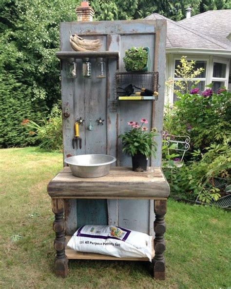old door potting bench build a potting bench out of an old wood door your