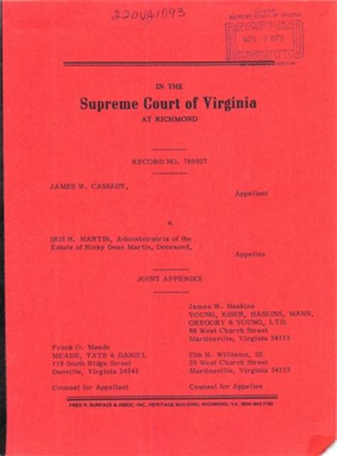 Virginia Court Search Free Virginia Supreme Court Records Volume 220 Virginia