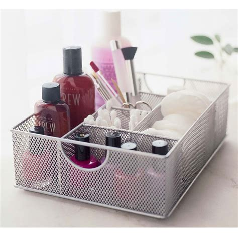 design ideas silver mesh vanity organiser make up and