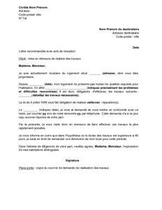 Modèle Lettre Mise En Demeure Bailleur Lettre Mise En Demeure Bailleur Travaux Document