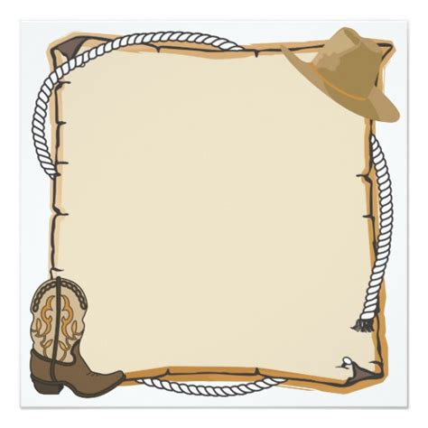 western birthday card template country western invite blank zazzle