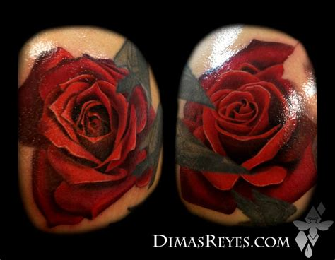 coloured rose tattoo color realistic tattoos by dimas reyes tattoonow