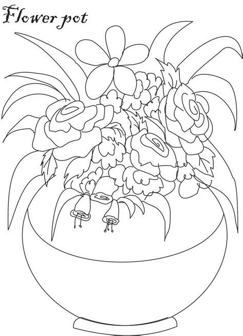 coloring pages of flowers in a pot flower pot pictures to color images