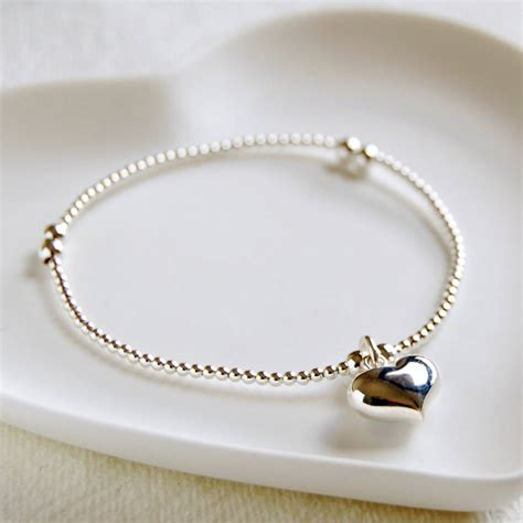 silver bead bracelet delicate silver bead bracelet with charm by highland