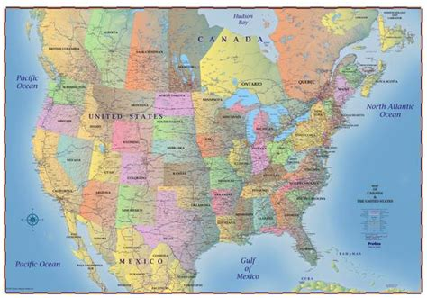 map of us canada and south america map of canada and usa 2018 laminated progeo maps guides