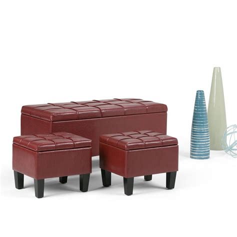 square leather storage ottoman coffee table simpli home avalon square faux leather coffee table
