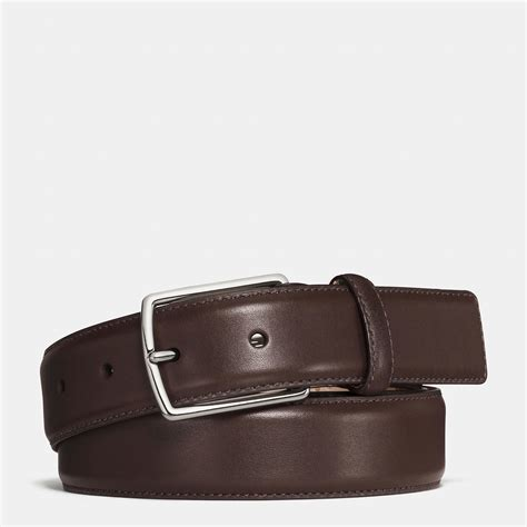 coach modern harness smooth leather belt in brown for