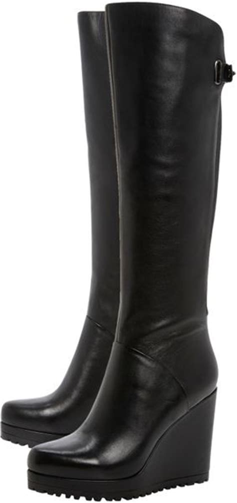 dune tanka knee high wedge boots in black lyst