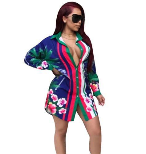 Dear Fashion Ask Fashion 7 by Wholesale Blue Floral Print Blouse Mini Dress Cm 086 For