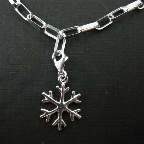 sterling silver snowflake charm charm with clasp charm