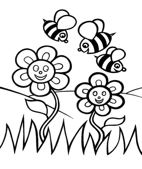 coloring pages of flowers and bees bee coloring pages coloring home