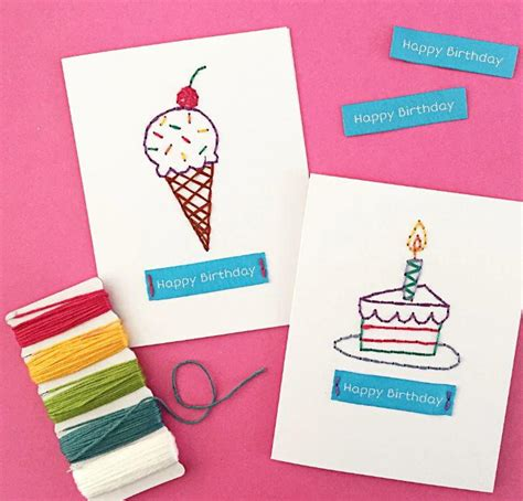 Embroidered Birthday Card Hand Embroidered Birthday Cards Allfreepapercrafts Com