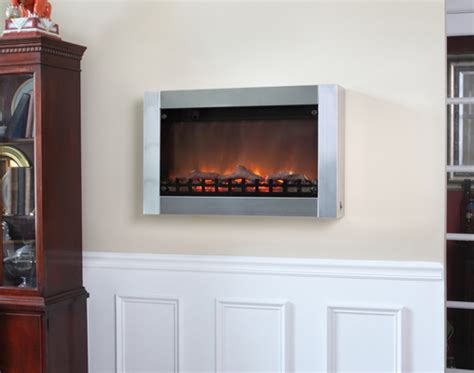 sense stainless steel wall mounted electric fireplace