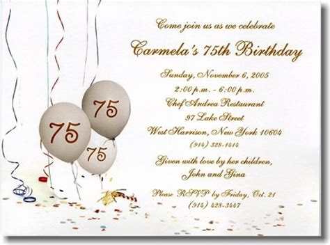75th birthday invitation templates invitations 75th cake ideas and designs