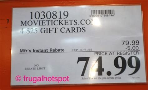 Movietickets Com Gift Card - costco sale movietickets com 4 25 gift cards 74 99