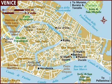 venice italy map venice landmarks map images