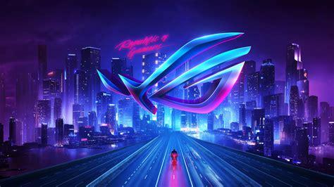 wallpaper asus rog republic  gamers neon city