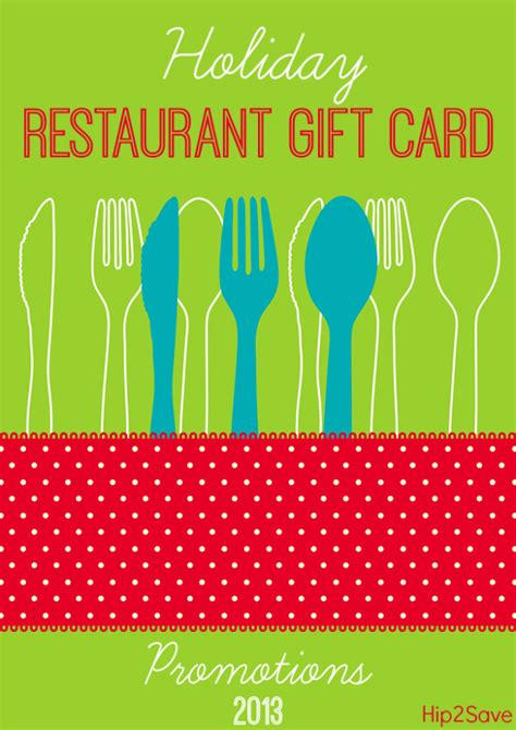 Restaurant Gift Card Promotions - 2013 holiday restaurant gift card promotions hip2save