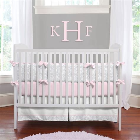 pink and gray baby bedding pink and gray damask baby crib bedding
