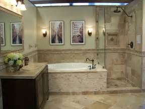 Bathroom Design Stores of travertine tiles gives this bathroom an earthy natural look