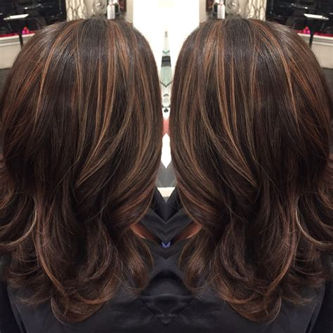 brunette hairstyles with caramel highlights dark brown hair with caramel highlights and midlength hair