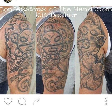 taino tattoo sleeve taino sun sol hibiscus flower polynesian work half