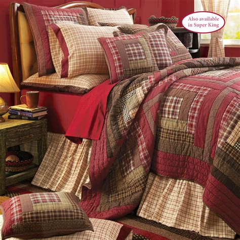 Plaid Patchwork Quilt - tacoma crimson plaid patchwork quilt set