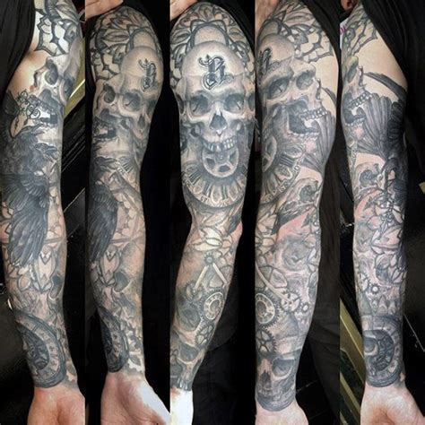 gear tattoo sleeve 50 skull sleeve tattoos for masculine design ideas